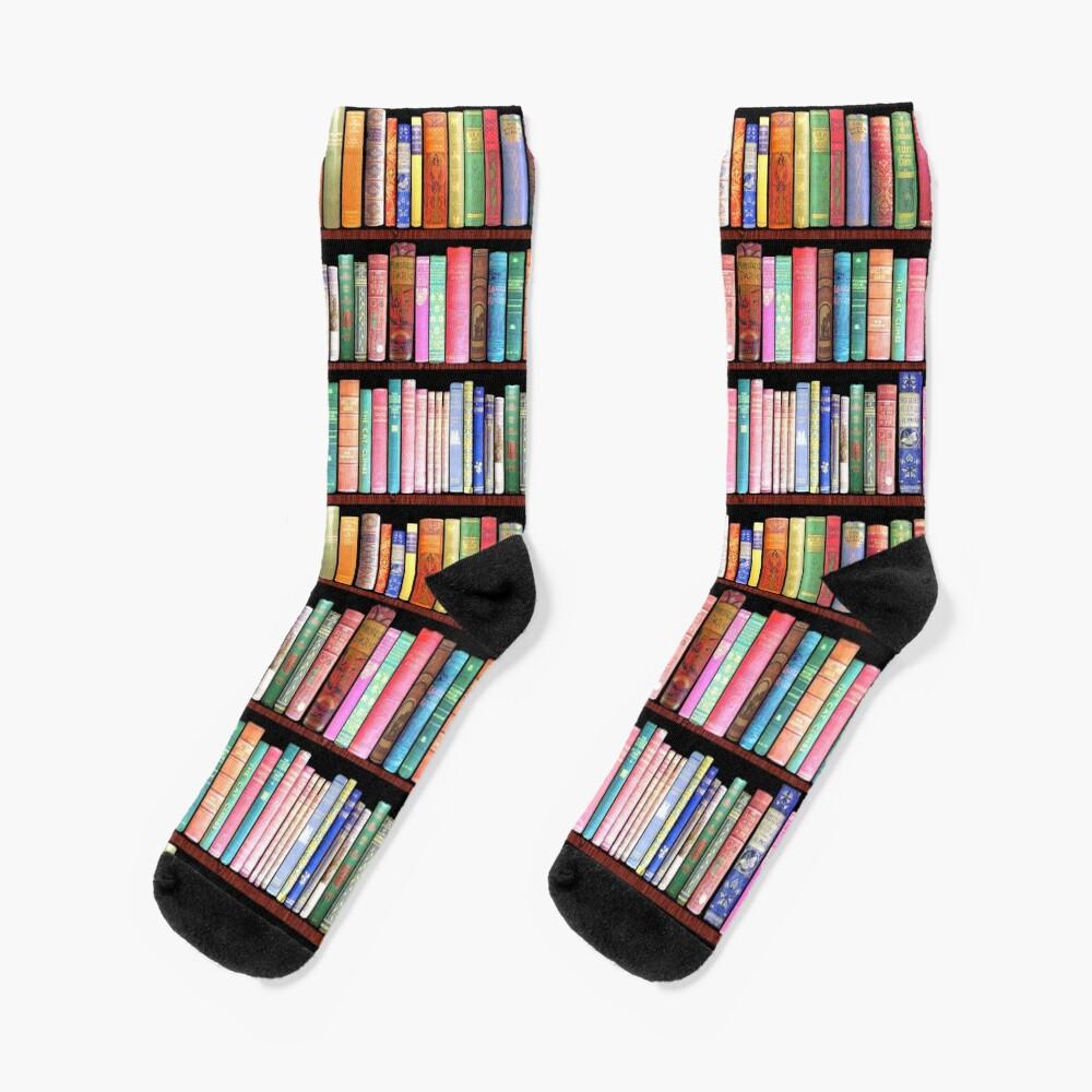 Bookworm Antique book library, vintage book shelf Socks