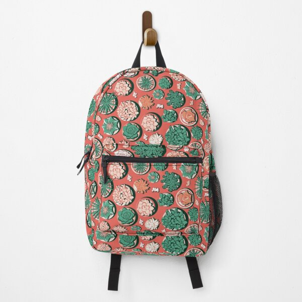Succulent pots at a desert sunset Backpack