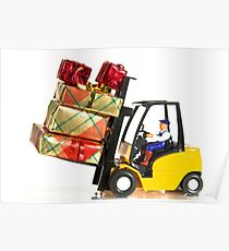 Fork lift and Christmas gifts Poster