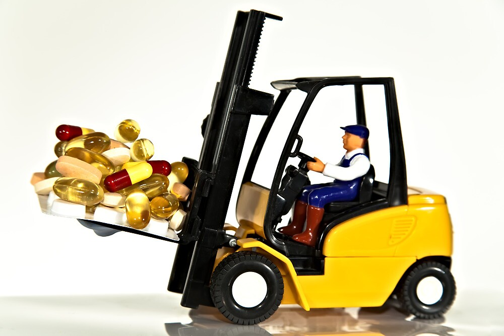 Fork lift and drugs by Norma Cornes