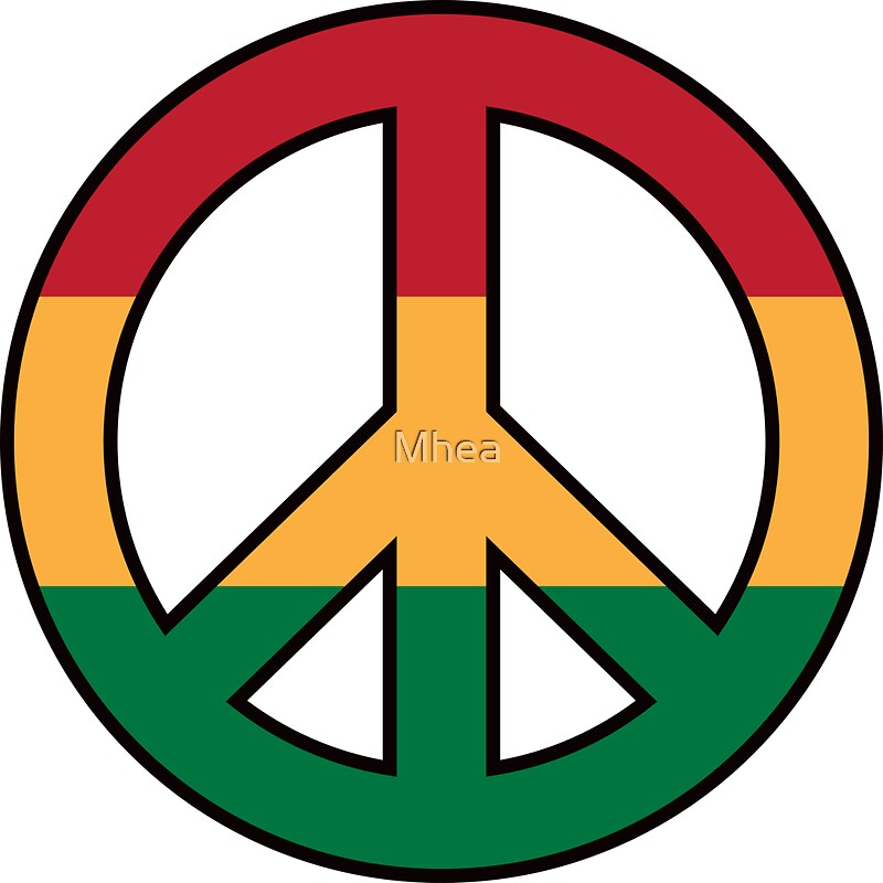 Peace symbol with rasta colors by mhea