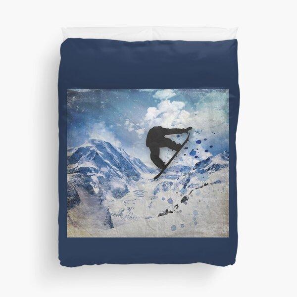 Snowboarder In Flight Duvet Cover