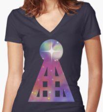 Triangular Nebula Women's Fitted V-Neck T-Shirt
