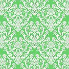Spring Green and White Damask by cinn
