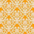 Orange and White Damask by cinn
