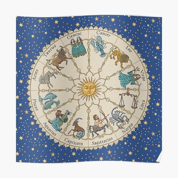 Vintage Astrology Zodiac Poster