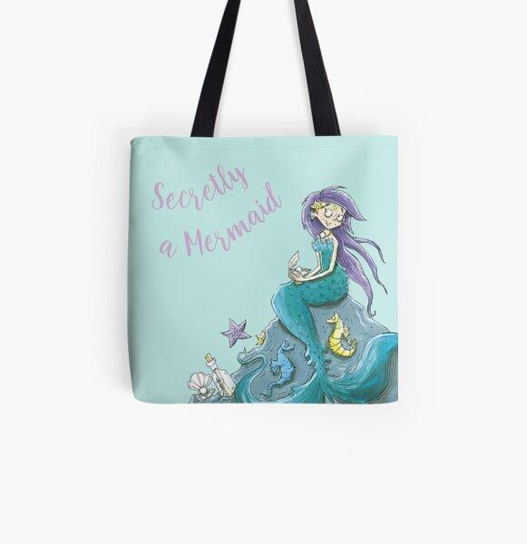 Secretly a Mermaid, Under the Sea Art, Nursery & Homeware All Over Print Tote Bag