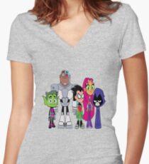 Camiseta entallada de cuello en V Teen Titans Go!