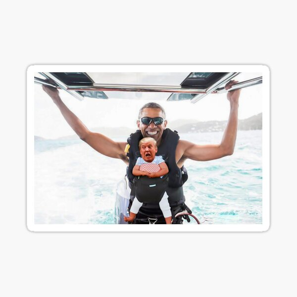 Tiny Baby Donald Trump On Vacation with Barack Obama - Independence Day 4th of July Funny Hilarious Cool Sticker