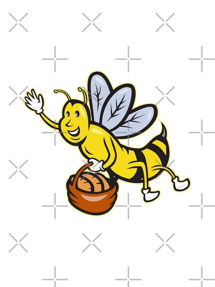 Bee Carrying Basket Bread Loaf Cartoon by patrimonio
