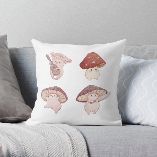 Four cute mushroom friends Throw Pillow