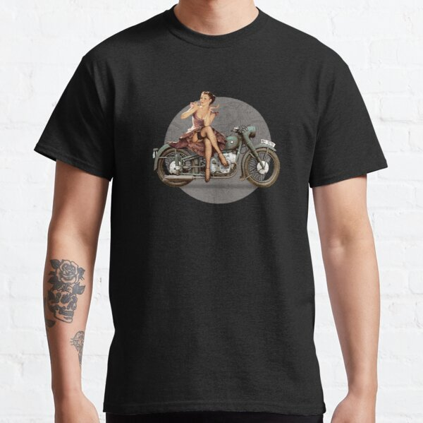 Pin-up motorcycle WWII Poster Vintage Classic T-Shirt