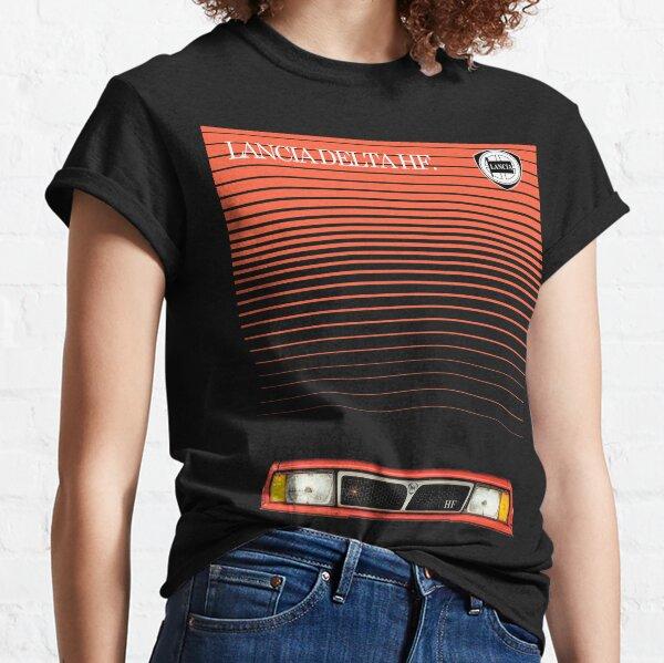 Elegante y espectacular portada del folleto para el automóvil de alto rendimiento Lancia Delta HF de los años 80 y 90.  El diseño está disponible en cualquier color de camisa. Camiseta clásica