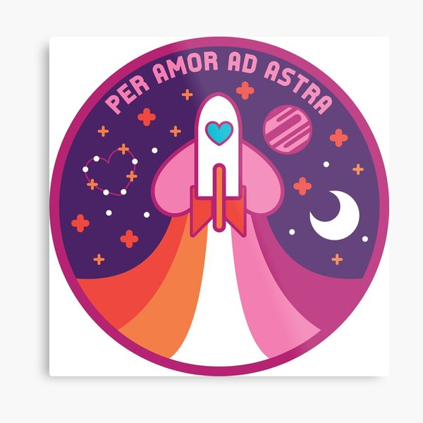 Space Pride - Lesbian Flag Metal Print