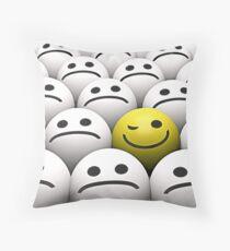 Winking smiley Throw Pillow