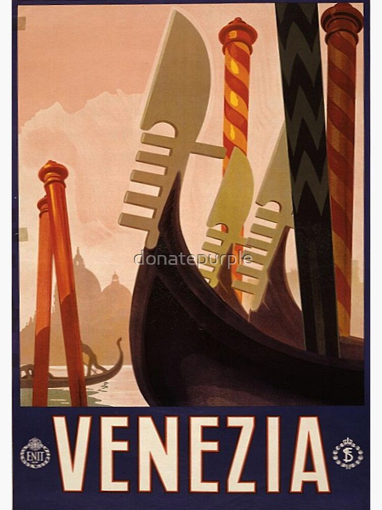 Weinlese-Reise-Plakat: Venedig von donatepurple
