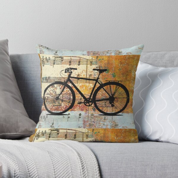Bicycle Silhouette Musical Design Throw Pillow