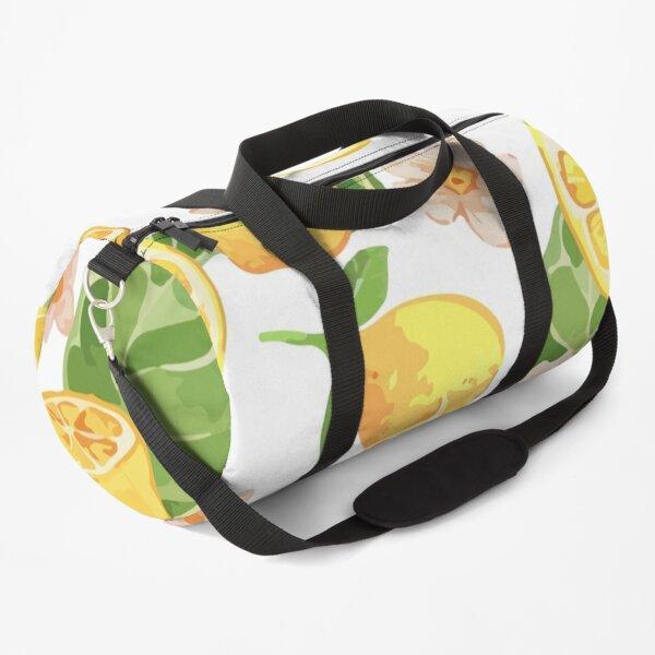 Watercolor lemon yellow gouache seamless pattern Duffle Bag