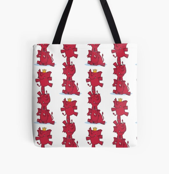 We ALL love red elephants! All Over Print Tote Bag