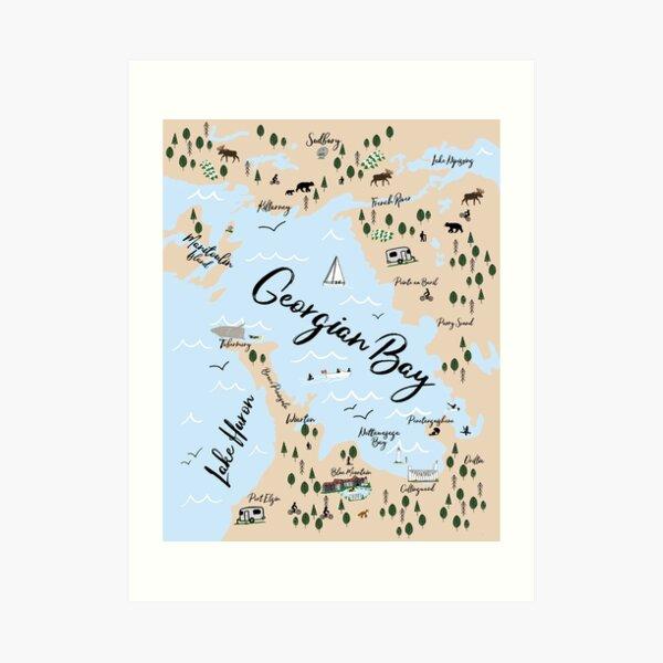 Map of Georgian Bay and Lake Huron Art Print