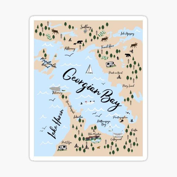 Map of Georgian Bay and Lake Huron Sticker