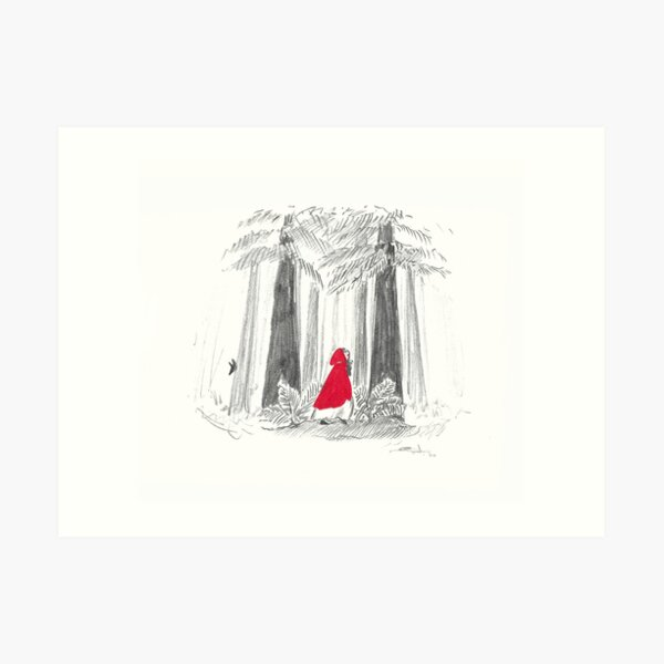Red riding hoods in the woods - red and grey - with a wolf ! Art Print