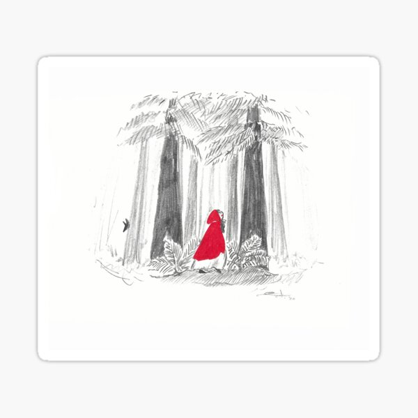 Red riding hoods in the woods - red and grey - with a wolf ! Sticker