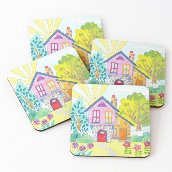 Summer Cottage Coasters (Set of 4)
