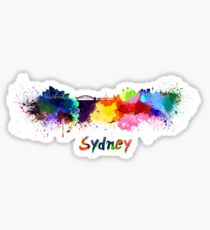 Sydney skyline in watercolor Sticker