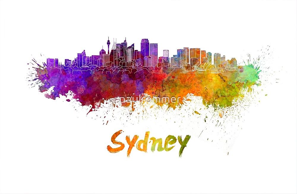 Sydney v2 skyline in watercolor by paulrommer