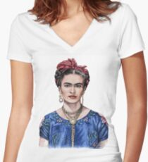 Hommage to Frida Kahlo Women's Fitted V-Neck T-Shirt