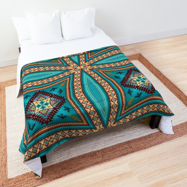 Turquoise Pattern Native American Style Comforter