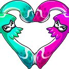 Squid Love - Turquoise x Pink by LuAnne Boudier