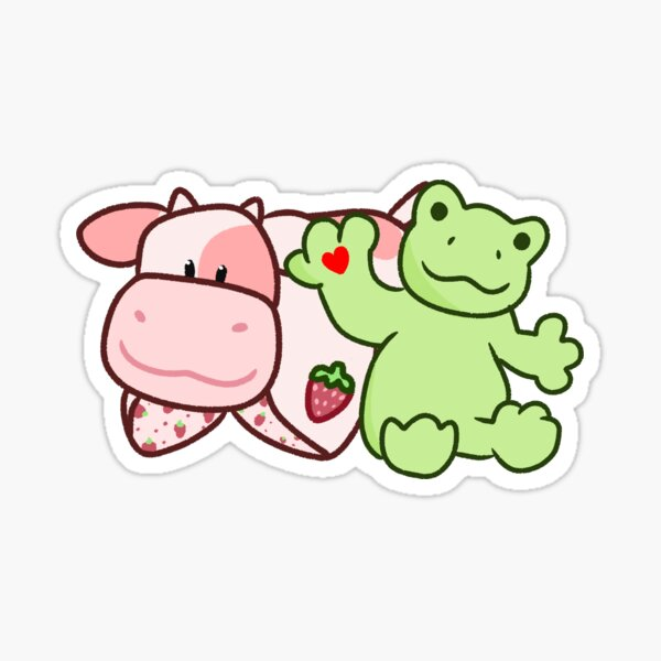 Strawberry Cow & Spring Frog Sticker