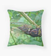 Annual Cicada - Green Bug With Sticky Feet Throw Pillow