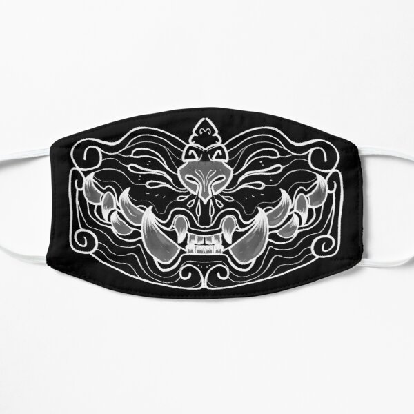 Bite Back Oni Mask (línea blanca) Mascarilla plana