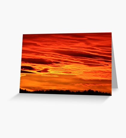 Flame Coloured Sunset Sky Greeting Card
