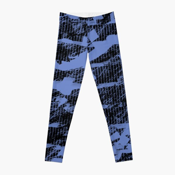 Crazy Pattern stripes lines blue Leggings