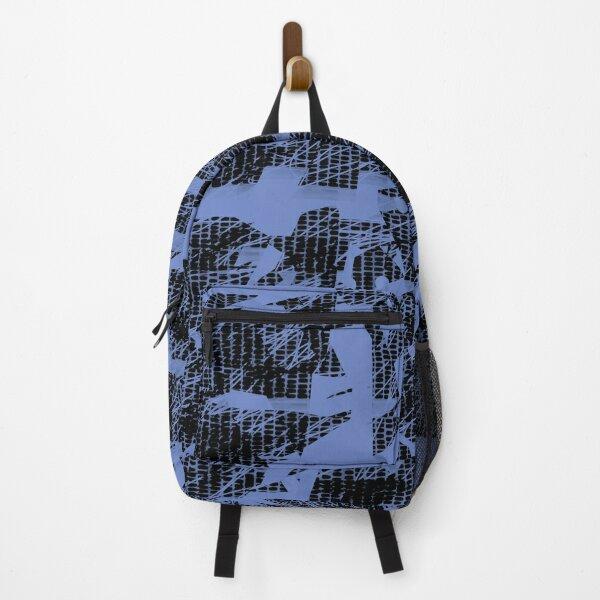 Crazy Pattern stripes lines blue Backpack