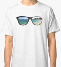 Hipster Beach Scene with Lens Flare Classic T-Shirt