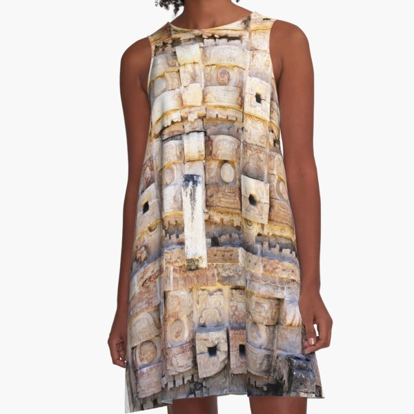 Pyramid texture ancient Mexican architecture A-Line Dress
