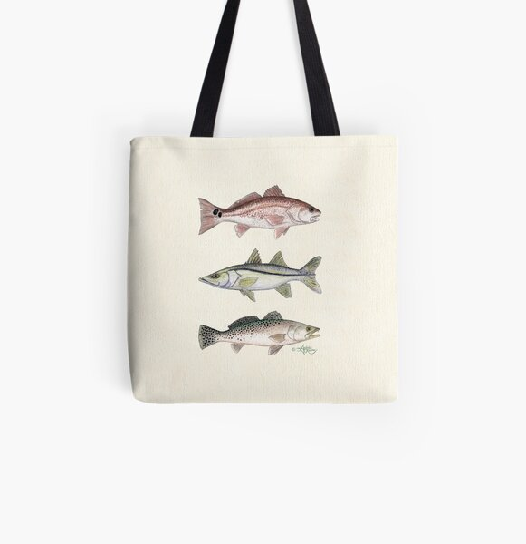 """""""Inshore Slam""""  by Amber Marine ~ watercolor redfish, snook, and trout art, © 2013 All Over Print Tote Bag"""