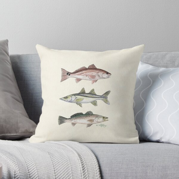 """""""Inshore Slam""""  by Amber Marine ~ watercolor redfish, snook, and trout art, © 2013 Throw Pillow"""