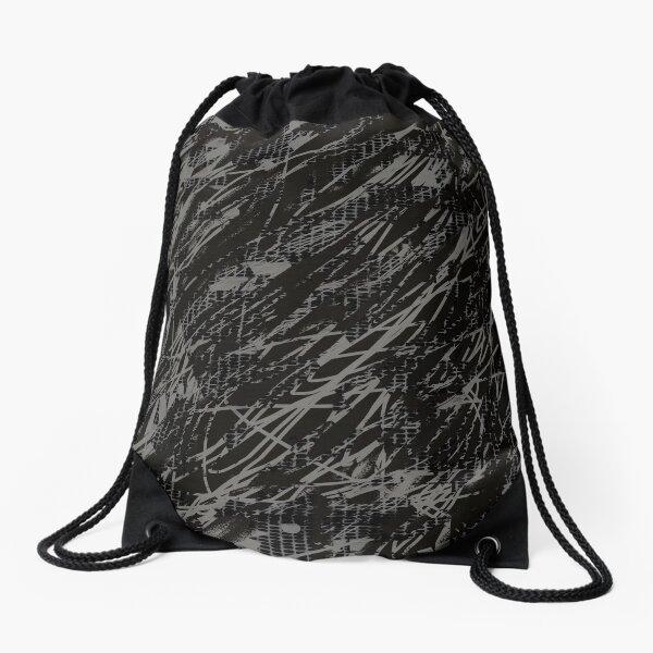 Crazy Pattern stripes grey Drawstring Bag
