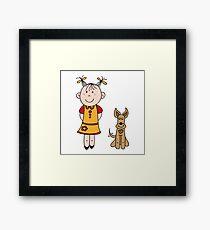 Girl with dog Framed Print