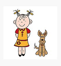 Girl with dog Photographic Print