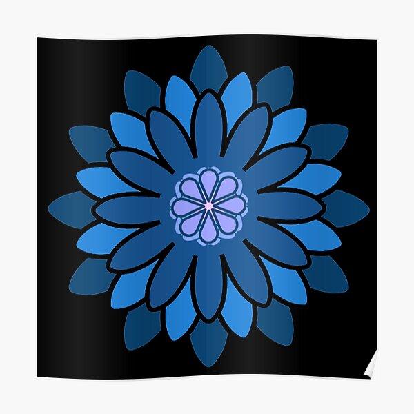Geometrical Flower - Blues Poster