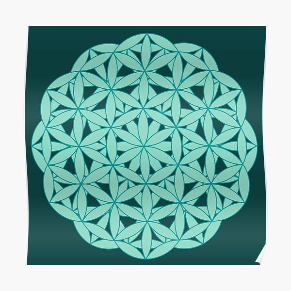 Flower of Life - Greens Poster