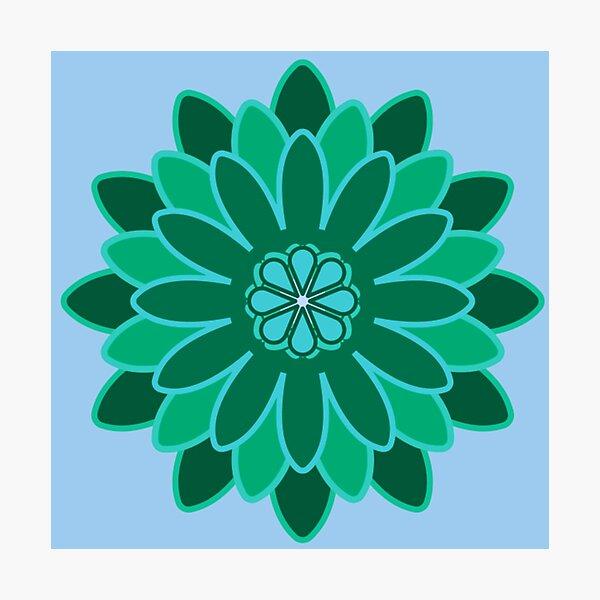 Copy of Geometrical Flower - Greens Photographic Print