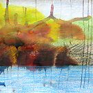 Abstract Ink Landscape with Water, Mountains, Fall Trees by RedPine